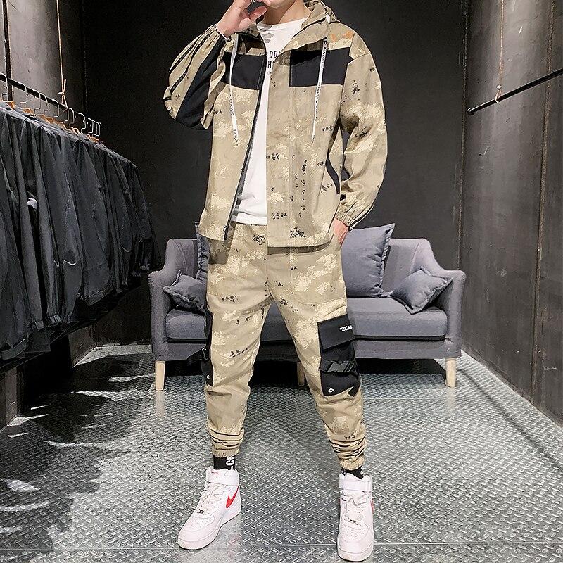 Chaquetas de camuflaje a la moda para hombre con pantalones, sudaderas con capucha, chándal liso estampado Hip Hop Jogging Homme, conjunto para hombre, moda de invierno HH50TZ
