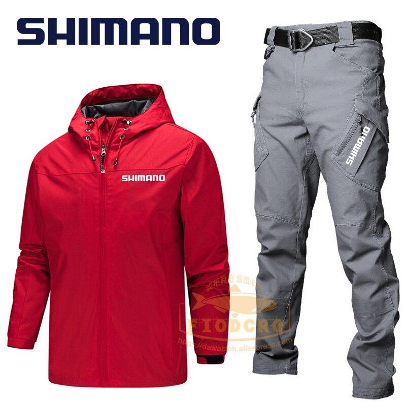 Shimano المهنية الصيد ملابس الرجال الرياضة في الهواء الطلق مقاوم للماء على قدم دعوى ركوب التخييم يندبروف السراويل سترة مجموعات