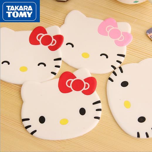 TAKARA TOMY милые Мультяшные подставки Hello Kitty противоскользящие Нескользящие подставки для чая силиконовые простые изоляционные подставки