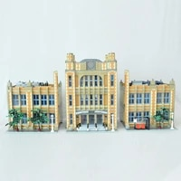 moc famous world modern architecture school blocks students place modular bricks diy construct building toys for children gifts