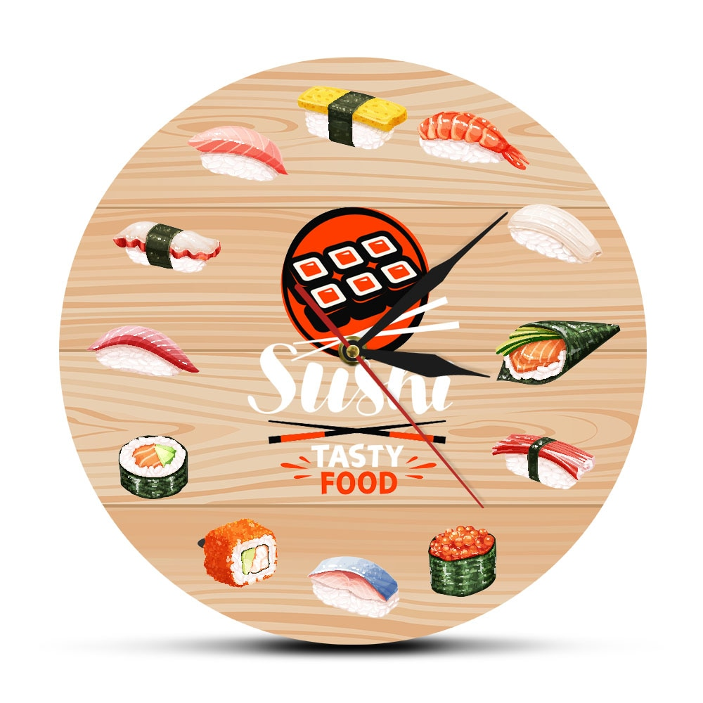 Reloj de pared de cocina japonés Sushi sabroso Reloj de pared de cocina decoración de pared minimalista regalo para comida Chef de restaurante