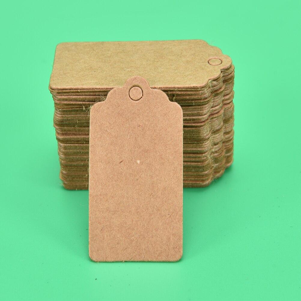 100 etiquetas de papel Kraft para colgar ropa DIY, regalo de Navidad, decoración de fiesta o boda, etiquetas de papel rectangulares de 4x2cm