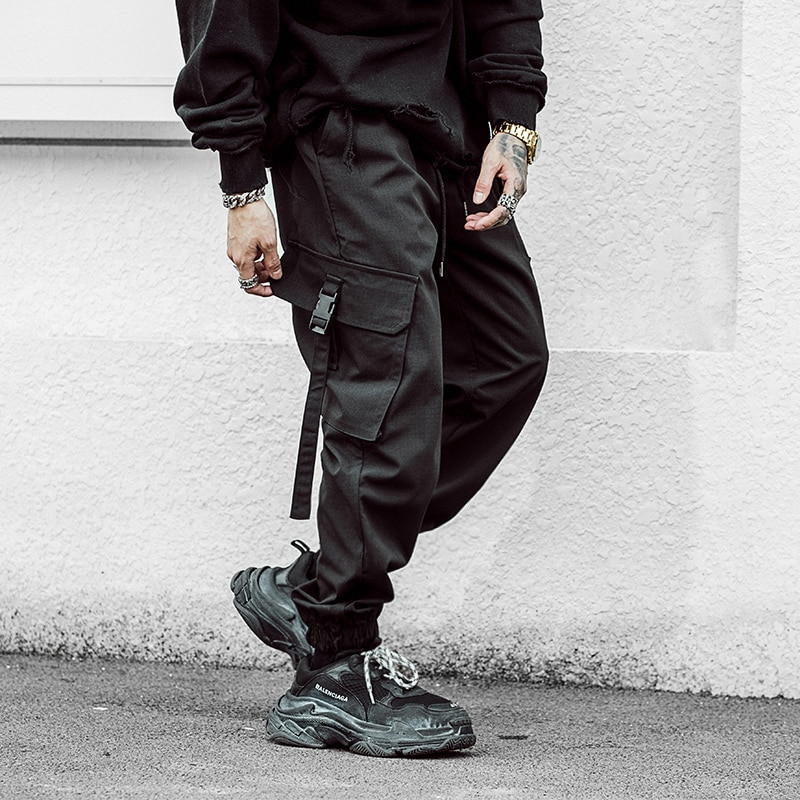 Mens Multi-pocket Harem Cargo Pant Men Streetwear Punk Cargo Pant Hip Hop Casual Trousers Joggers Male Black Pant