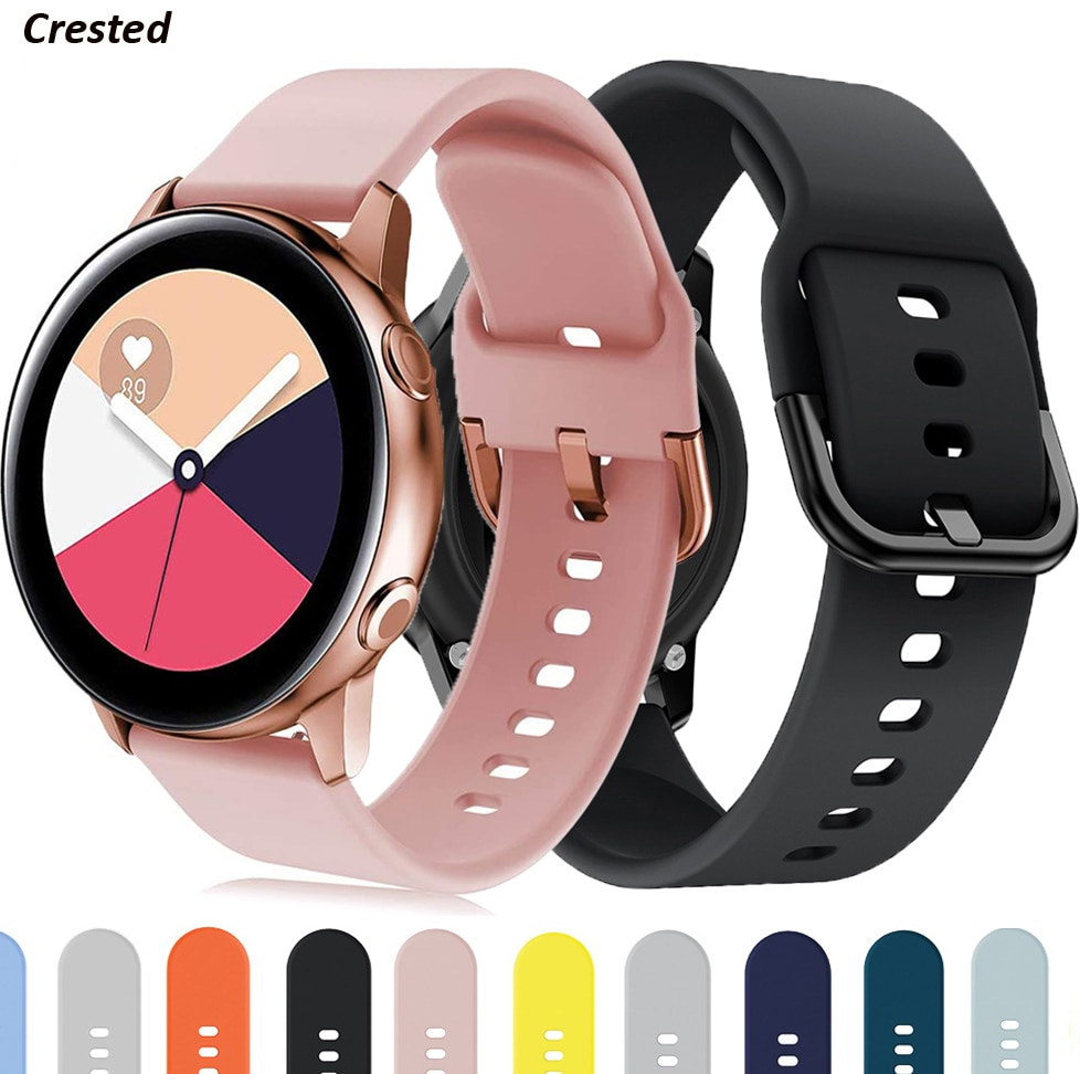 22mm/20mm watch Strap for Samsung gear s3 frontier silicone smartwatch bracelet Galaxy watch 3/46mm/42mm/Active 2 44mm 40mm band