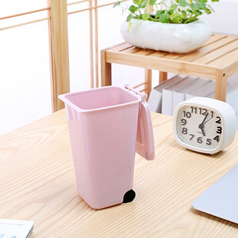 Mini pequeno lixo bin desktop cesta de lixo mesa em casa plástico material de escritório roda lata de lixo diversos barril caixa