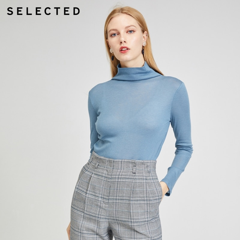 SELECTED Spring Turtleneck Knit with Wool Women's Elite Pullover Sweater |420102502