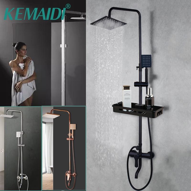 KEMAIDI-مجموعة دش مطري ، رأس دش يدوي مع صنبور دش مطري ، كروم