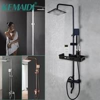 KEMAIDI     ensemble de douche de salle de bain  noir et rose mat  pomme de douche  melangeur de bain avec robinet de douche a main  pluie chromee