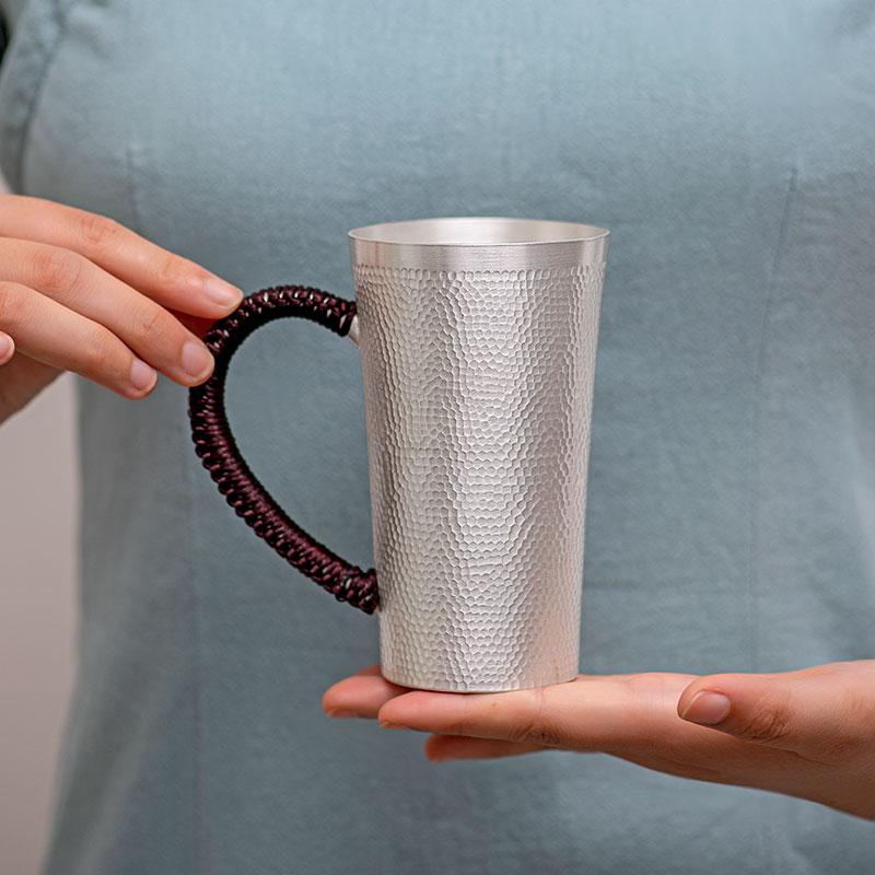 كوب ماء من الفضة النقية ، فنجان شاي s999 من الفضة النقية ، فنجان قهوة مطروق يدويًا بمقبض ، كوب مكتبي ، كوب شاي كبير ، كوب شاي