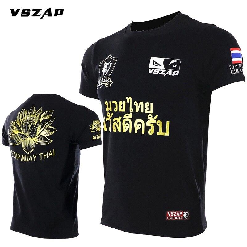 VSZAP Lotus Fitness Camiseta de manga corta MMA Muay Thai puño Lucha Libre lucha Tailandia Tigre transpirable artes marciales viento