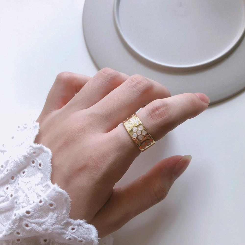 2019 nuevas mujeres resina flor hoja anillos ajustable boda oro plata esterlina 925 bandas moda chicas verano abierto anillos