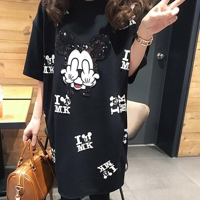 Nueva camiseta de pasarela de verano, Vestido de manga corta, vestido informal con estampado de ratón de mickey, tops de mujer, vestidos holgados de gran tamaño