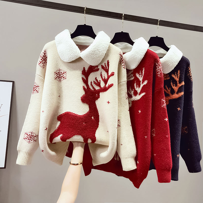 new autumn and winter clothes thickened women's Christmas woolen clothes popular new year red holiday two pieces of cashmere