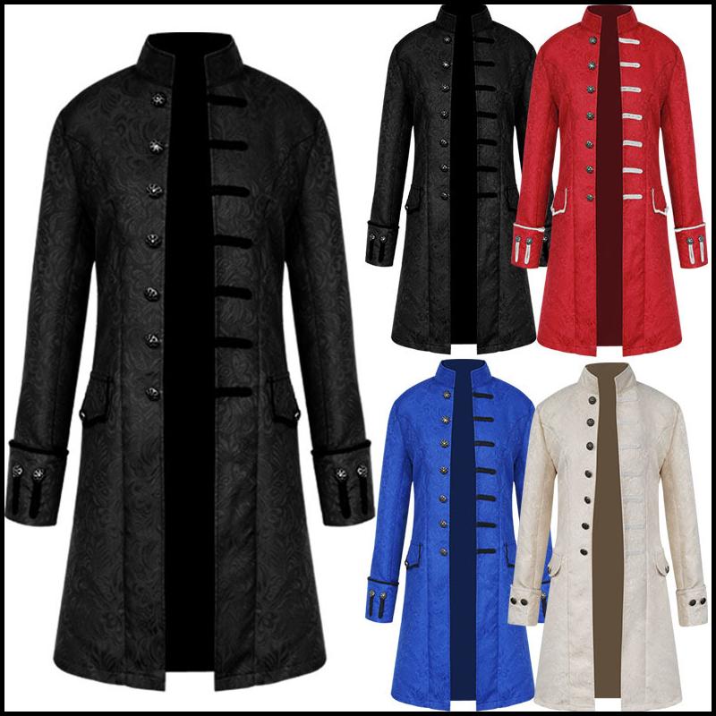 Men Victoria Edwardian Punk Trench Coat Frock Outwear Vintage Prince Overcoat Medieval Renaissance J