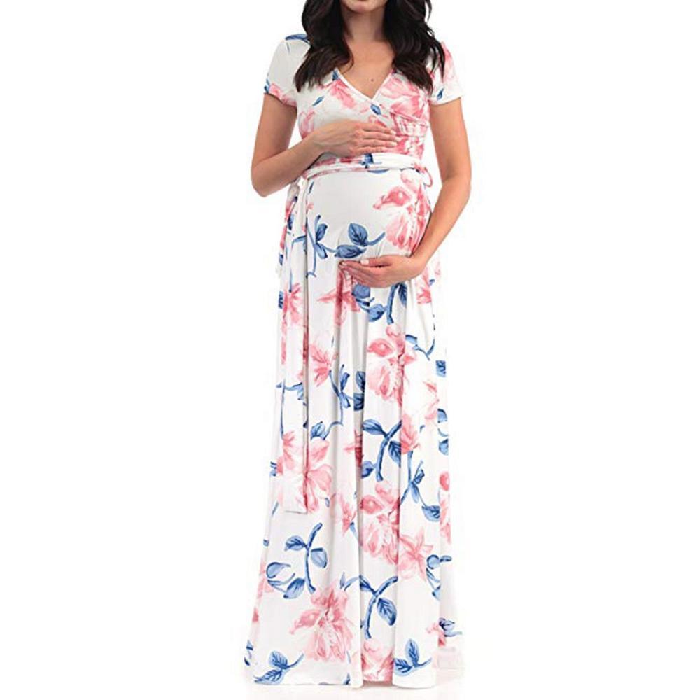 V-neck short-sleeved belt printed maternity dress plus size dress beach dress enlarge