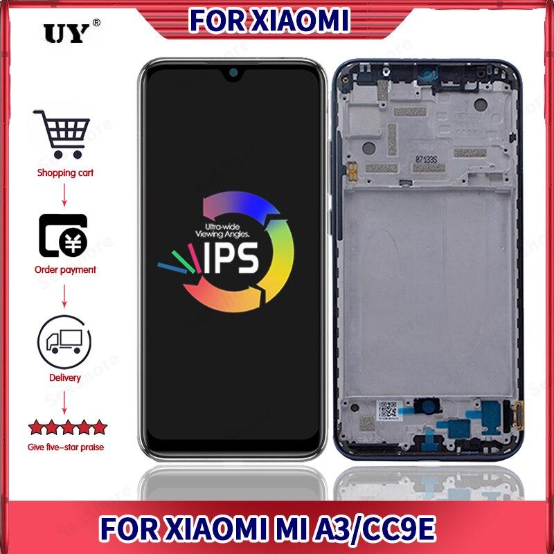 Pantalla Super AMOLED para Xiaomi Mi CC9E, pantalla LCD para Mi A3, con Marco, piezas de repuesto