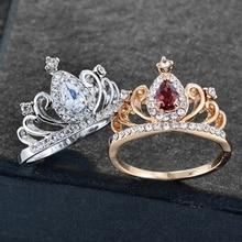 Pierścionki w stylu księżniczki korony dla kobiet luksusowe drążą różę i białe złoto kolor modna biżuteria na prezent dla dziewczynek