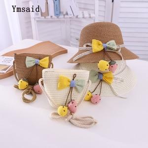 2021 New Summer Children Cute Sweet Bow Flowers Hat Baby Sun Hat Girl Travel Straw Hat Beach Visor Hat Straw Bag Two-Piece Sets