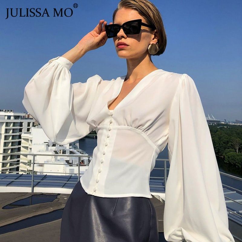 aliexpress.com - Julissa Mo White Button Up Fashion Women Blouses 2021 Spring Long Puff Sleeve V-Neck Shirt Elegant Sexy Slim Female Shirts Top