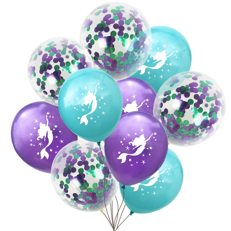 Nueva caricatura sirena látex confeti con Globos de aire Globos de boda Globos niños decoraciones para fiesta de cumpleaños suministros de baño para bebé