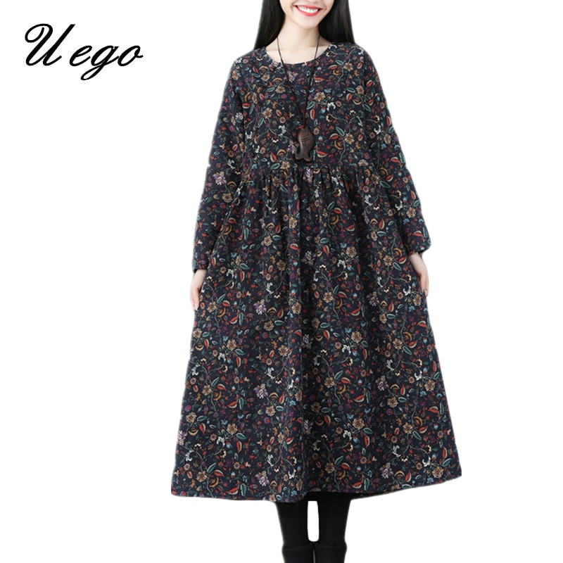 Uego 2020 Nieuwe Aankomst Herfst Jurk Katoen Lange Mouwen Print Bloemen Vintage Jurk Plus Size Vrouwen Casual Midi Lente jurk