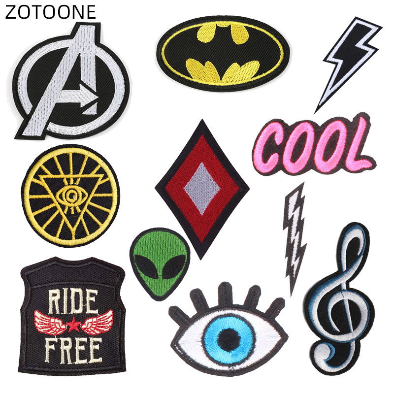 ZOTOONE Iron on Patches for Clothing Jeans Embroidered Letter Alien Kids DIY Stripe Stickers Note Appliques Badges E