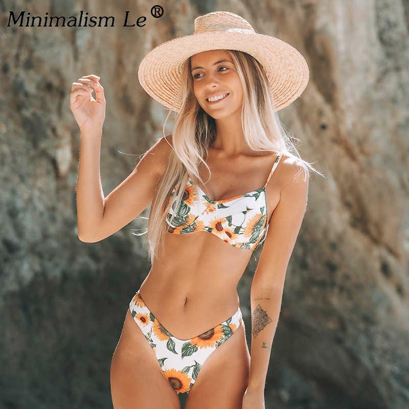 Conjunto De Bikini De Estampado Floral Para Dama Traje De Baño De Dos Piezas Corte Alto Estampado De Flores Estilo Brasileño Con Realce Cintuta Baja Conjunto De Bikini Aliexpress
