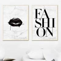 Pour salon decoratif fond noir levre mode citation Art maison toile peinture nordique affiches et impressions photos murales