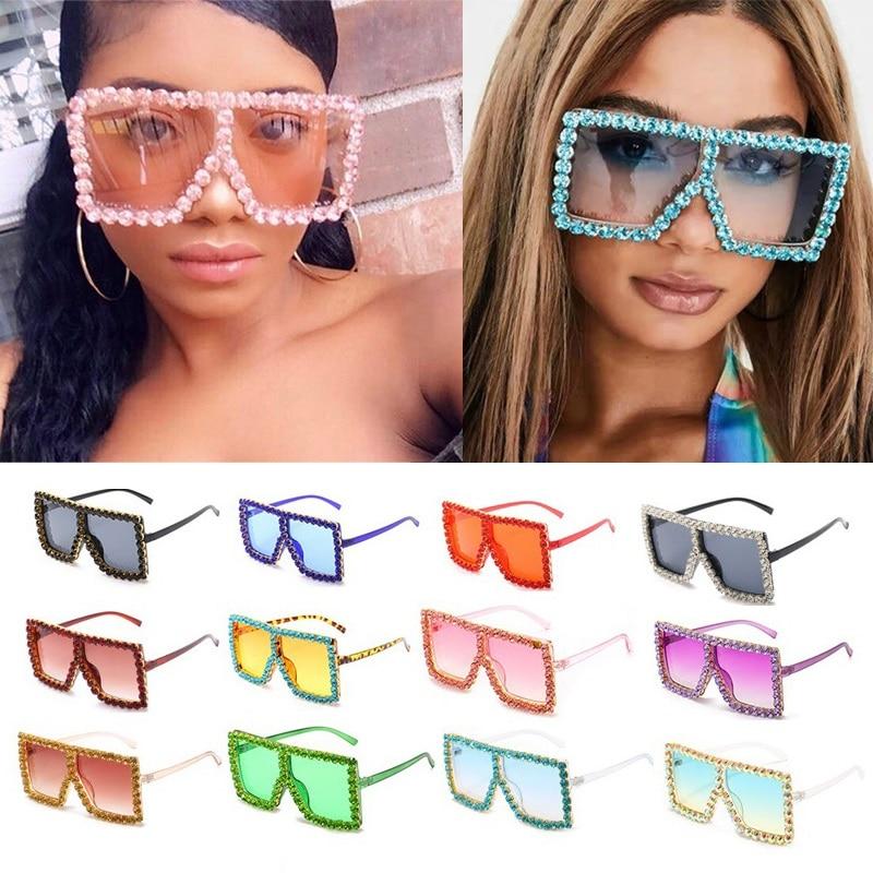 الجملة المتضخم إطار كريستالي كامل مربع النظارات الشمسية للنساء الفاخرة خمر الراين نظارات شمسية الرجال ظلال الطرف السائبة