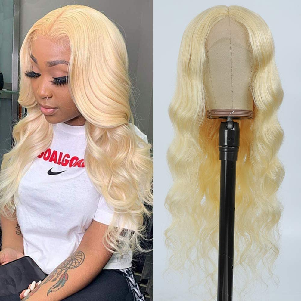 Middle Part Body Wave 13*1 Lace Front Wigs 24 inch Brazilian Remy Human Hair 613 Blonde Deep Part Wig Pre Plucked With Baby Hair недорого