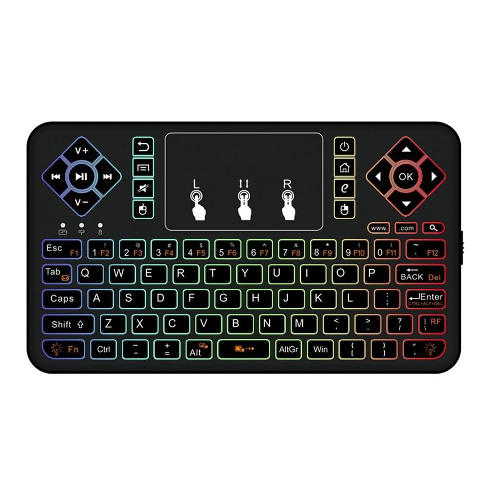 Q9 BT 3.0 اللاسلكية 3 ألوان الخلفية لوحة اللمس ماوس هوائي لوحة مفاتيح صغيرة ل تي في بوكس أندرويد الهاتف RGB يطير ماوس هوائي التحكم عن بعد