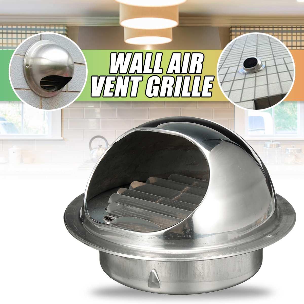 Ventilación de techo de pared gruesa de acero inoxidable 200mm/180/160/120/80/70/60mm salida de la cubierta de la rejilla de escape de ventilación