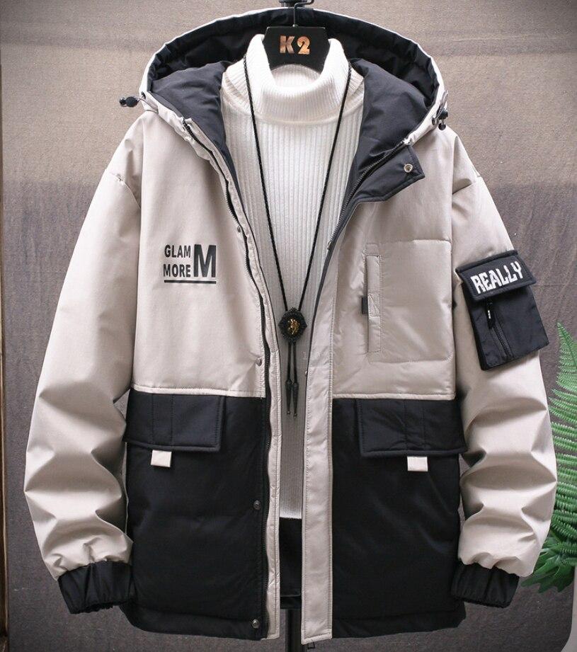 Зимняя новая Корейская пуховая куртка для инструментов Мужская трендовая мужская куртка с капюшоном короткая Толстая мужская модель одног...