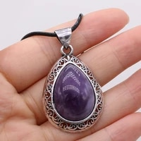 new product natural amethyst stone necklace pendant is suitable for ladies to wear exquisite necklace luxury jewelry 27x40mm