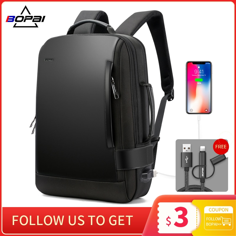 BOPAI Brand Enlarge Backpack USB External Charge 15.6 Inch Laptop Backpack Shoulders Men Anti-Theft