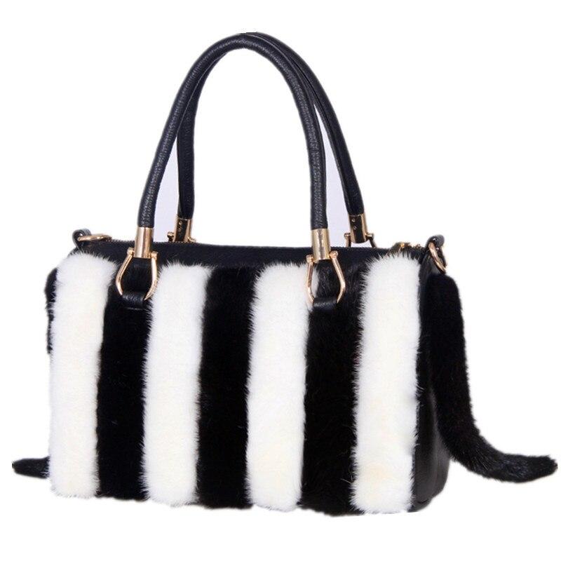 2021 New Luxury Handbags 100% Mink Fur Shoulder Bag Ladies Handbag Cute Female Diagonal Bag Designer Ladies Hangbag
