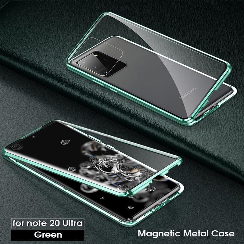 Para samsung galaxy note20 ultra caso nota 20 ultra capa de metal magnético 360 caso para galaxy s20 ultra plus duplo vidro temperado