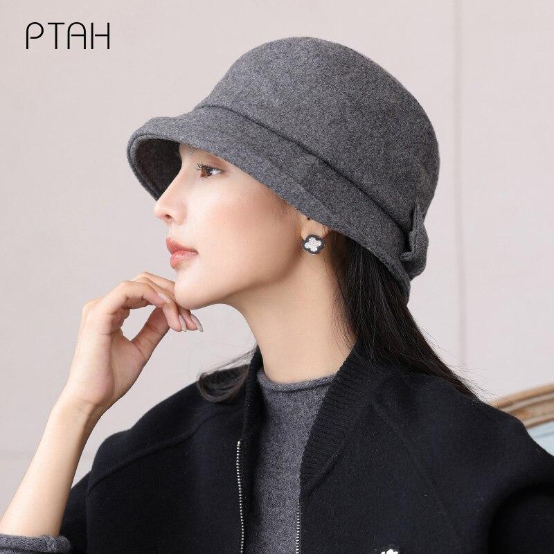 Шерстяная Панама [PTAH], зимние теплые шапки, женские утепленные шапки с плоским верхом, уличные шапки, женские мягкие твидовые шапки, элегантн...