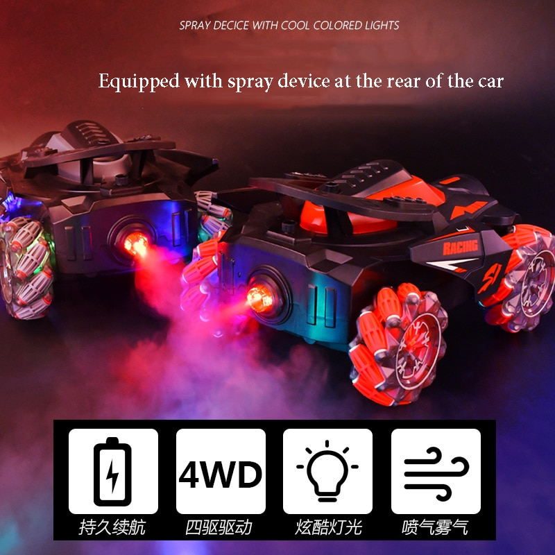 The new gesture sensing remote control car Light spray bubble car Four-wheel drive off-road drifting children's toy car enlarge