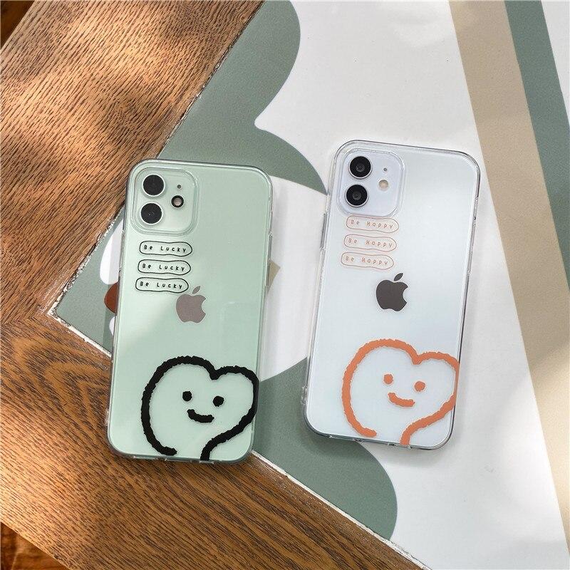 Funda de teléfono transparente para iPhone funda bonita de TPU suave con sonrisa de corazón de amor para iPhone 11 Pro 12