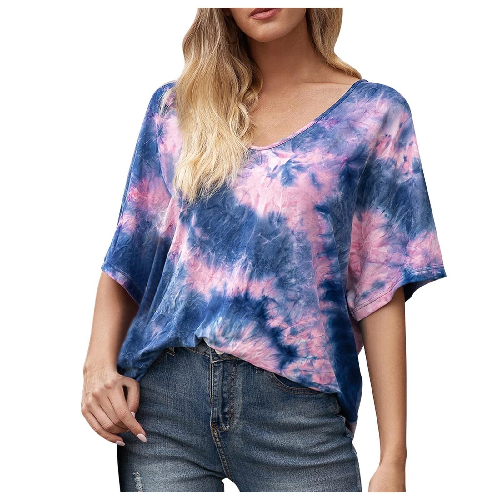 Camiseta con tinte dibujo Tie para mujer, Tops informales Multicolor con cuello...