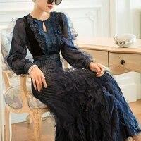 2021 high end new temperament evening banquet elegant slim loose summer women vestido vfemage vintage long dresses kadife elbise