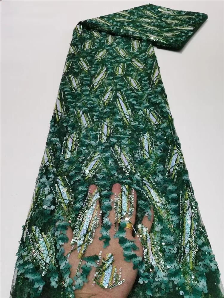 الكلاسيكية الخضراء الفاخرة متفوقة الجودة أنيقة 2021 الترتر التطريز الأفريقي نسيج من التول والدانتيل لفستان الزفاف NN566-F