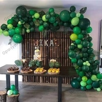 jungle safari party theme green balloons garland arch kit birthday baby shower boy forest party christmas new year decorations