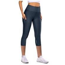 Leggings Sport femmes Fitness serré élastique séchage rapide pantalons de Yoga réfléchissant sept points pantalons de Yoga poches Leggings de gymnastique
