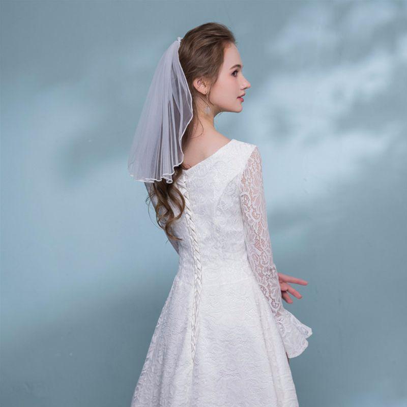 Tul vestido de novia velos cinta blanca borde Rhinestones perlas falsas corto nupcial velo para el cabello peine novia hadas accesorios matrimoniales