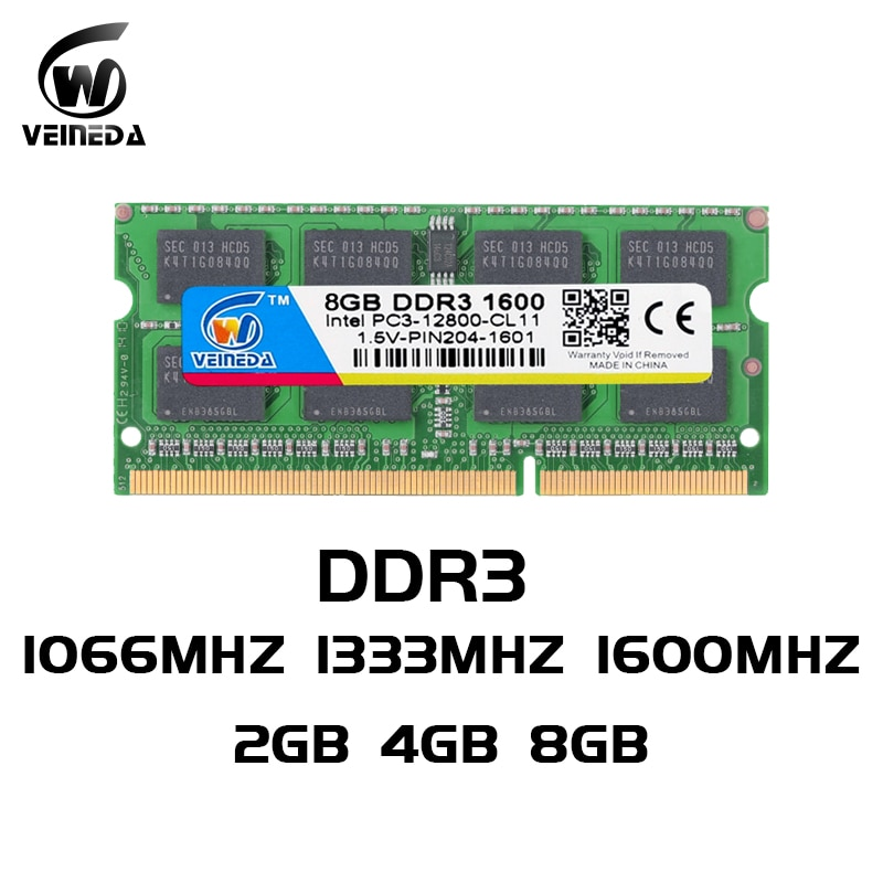 Память для ноутбука VEINEDA DDR3 8 ГБ 4 ГБ 2 Гб DDR 3 1333 МГц 1600 МГц sodimm RAM память ноутбука 204pin 1,5 V для ноутбука Intel AMD