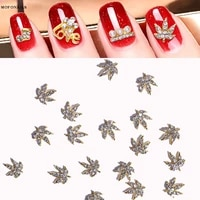 100pcslot 3d nail art charms maple shape metal alloy stud crystal charm gold clear ab rivet luxury nail tip art charm accessory