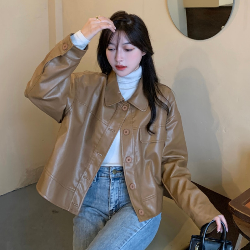 Autumn Korean 2021 Coat New Loose And Versatile Polo Collar Single Breasted Motorcycle Leather Jacke