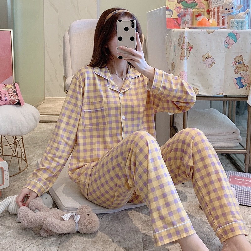 Pajamas Autumn and Winter Women's Spring and Autumn Cotton Long Sleeve Lovely Summer Home Clothes Two-piece Suit Yellow